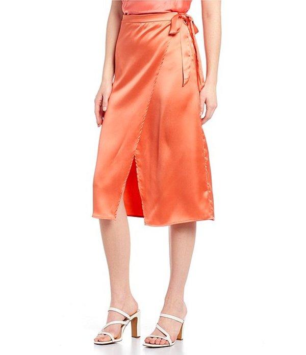 タカラ レディース スカート ボトムス Satin Tie-Side Wrap Skirt Burnt Coral