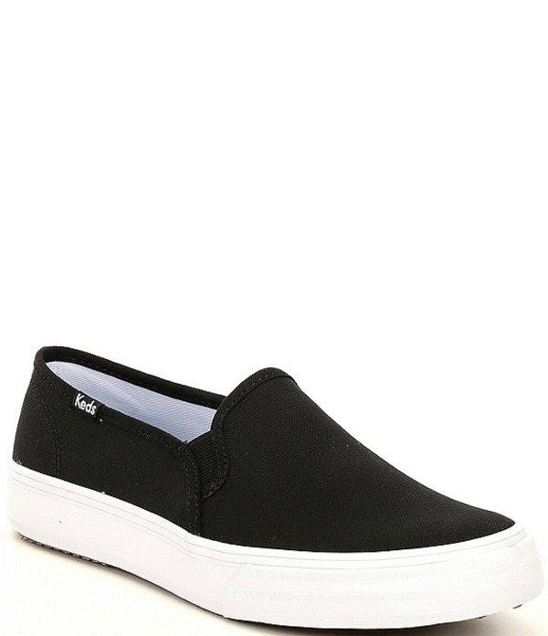 ケッズ レディース スニーカー シューズ Double Decker Canvas Slip On Sneakers Black