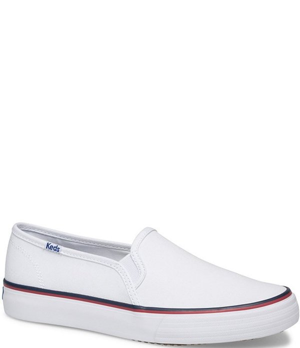 ケッズ レディース スニーカー シューズ Double Decker Varsity Canvas Slip On Sneakers White
