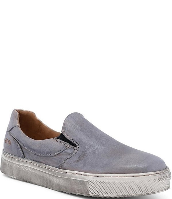 ベッドステュ レディース スニーカー シューズ Hermione Leather Distressed Slip On Sneakers Grey Rustic Silver Metallic