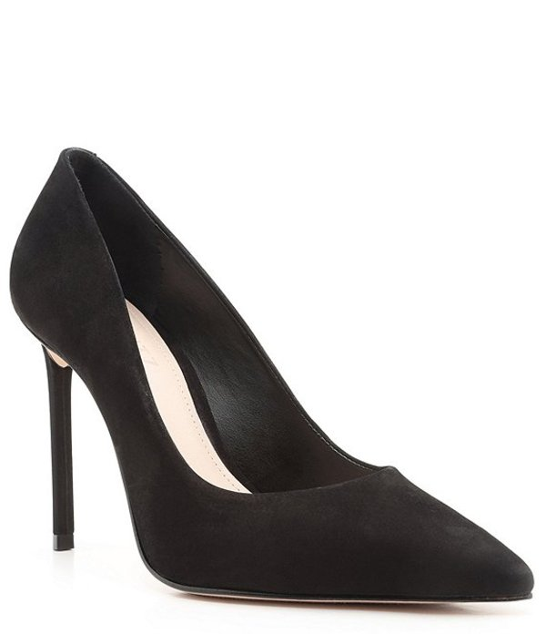 シュッツ レディース ヒール シューズ Lou Suede Leather Pointed Toe Stiletto Pumps Black