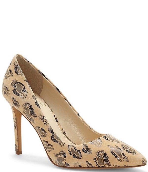 ヴィンスカムート レディース ヒール シューズ Savilla Leopard Print Leather Pointed Toe Pumps Natural Leopard