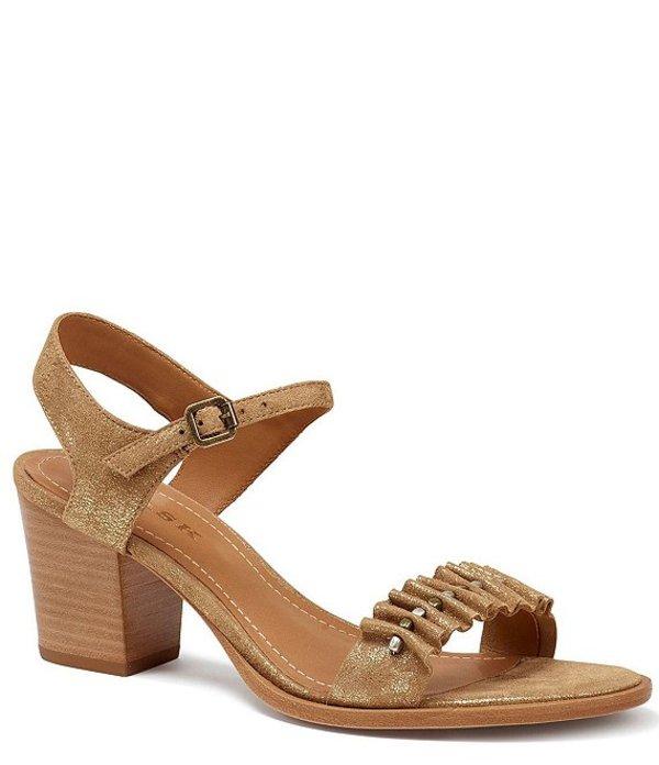 トラスク レディース サンダル シューズ Carrie Metallic Suede Block Heel Sandals Gold Metallic