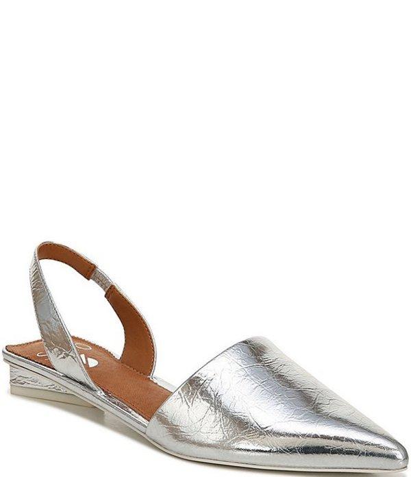 フランコサルト レディース パンプス シューズ Sarto By Franco Sarto Graydon Metallic Leather Block Heel Slings Silver