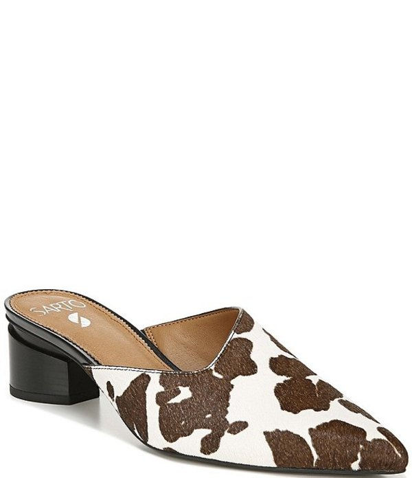 フランコサルト レディース サンダル シューズ Sarto By Franco Sarto Visa2 Cow Print Calf Hair Block Heel Mules Brown