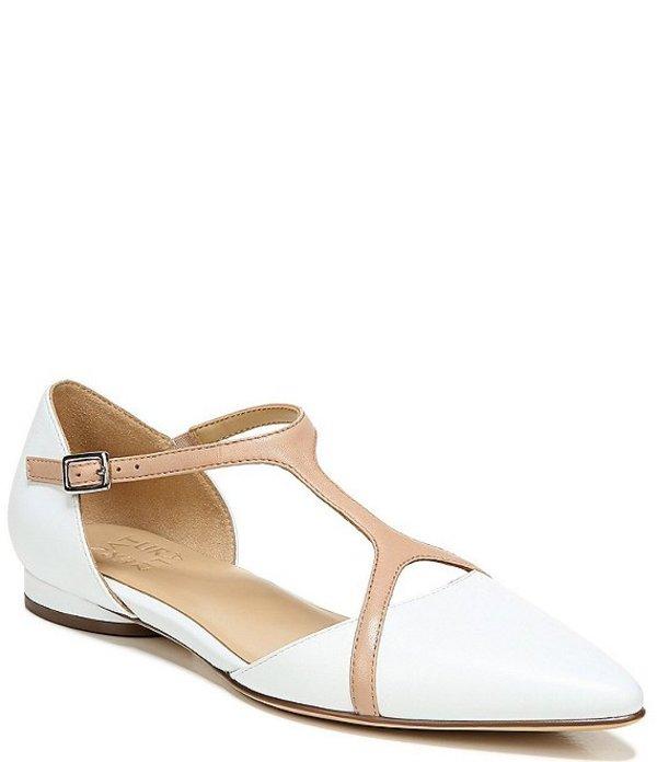 ナチュライザー レディース パンプス シューズ Hana Leather Pointed Toe Dress Flats White Leather