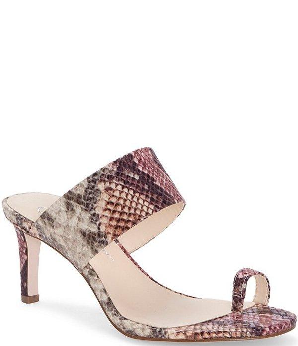 ジェシカシンプソン レディース サンダル シューズ Lissah Snake Print Toe-Loop Slide Sandals Mauve Snake