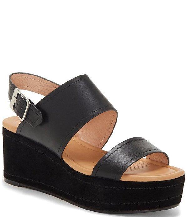 コルソ コモ レディース サンダル シューズ Fairen Leather Platform Wedge Sandals Black