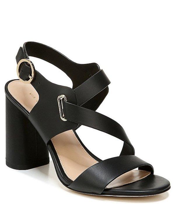 ヴィアスピガ レディース サンダル シューズ Hyria Leather Block Heel Dress Sandals Black