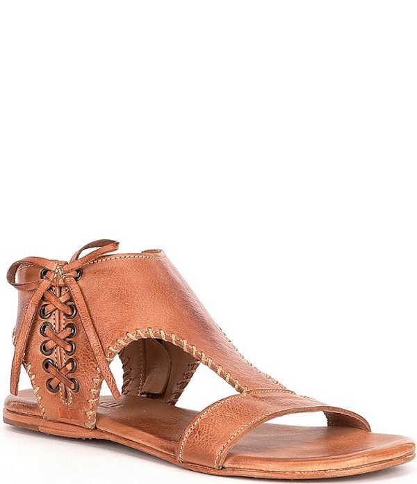 ベッドステュ レディース サンダル シューズ Nina Handwoven Leather Flat Sandals Tan Dip Dye