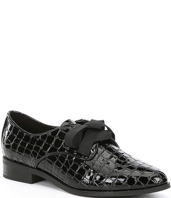 アルド レディース オックスフォード シューズ Gemelli Croco Embossed Patent Oxfords Black Croco