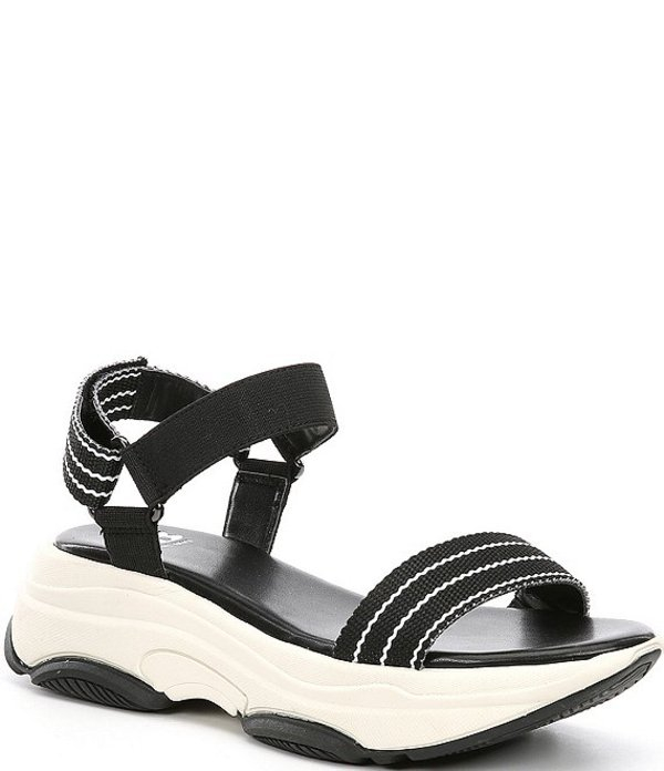 ジービー レディース サンダル シューズ Strait-Fire Striped Chunky Flatform Sporty Sandals Black/White