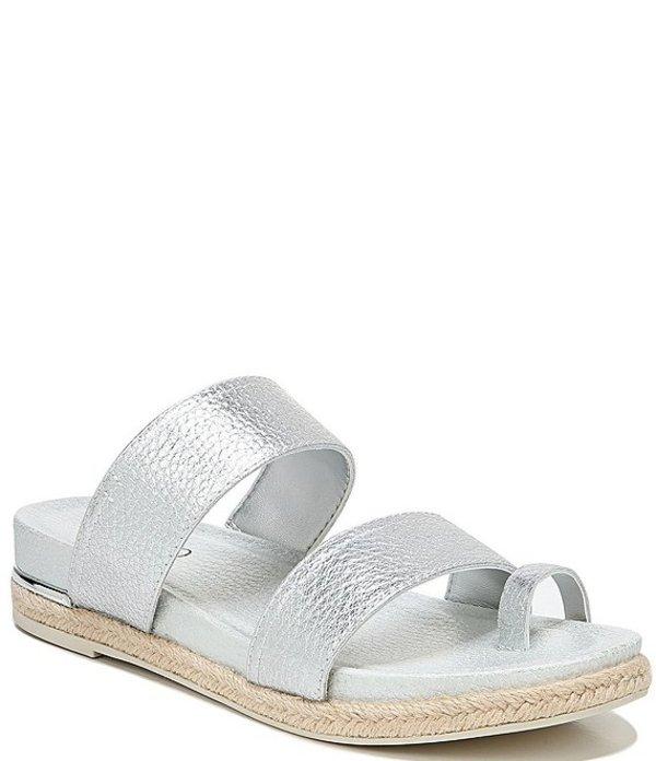 フランコサルト レディース サンダル シューズ Bolivia Metallic Leather Toe Loop Espadrille Sandals Silver