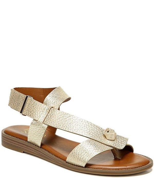 フランコサルト レディース サンダル シューズ Glenni Metallic Leather Thong Sandals Gold