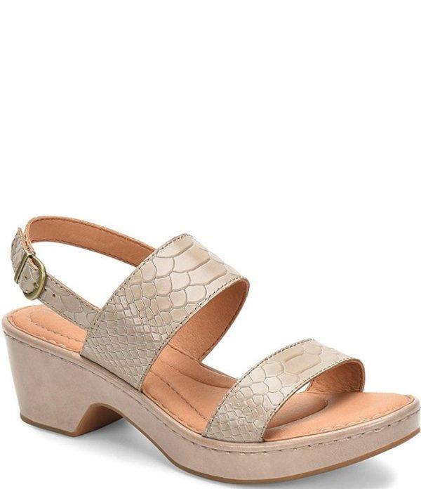 ボーン レディース サンダル シューズ Atzel Embossed Leather Block Heel Sandals Natural