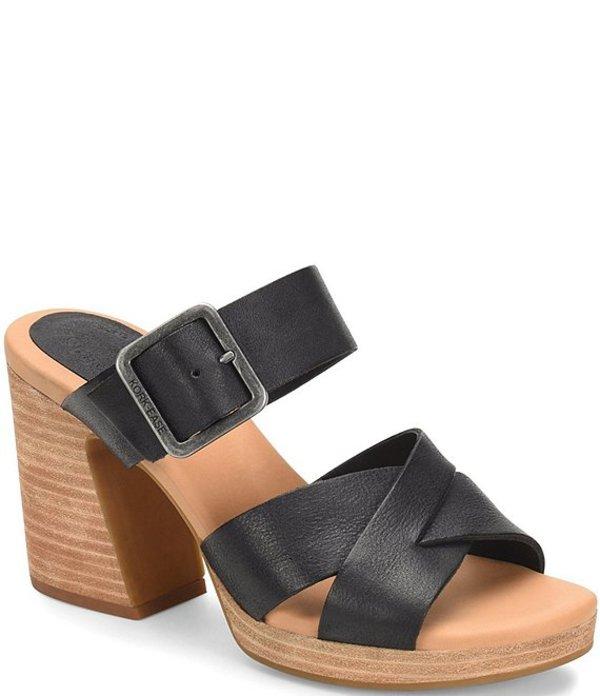 コークイーズ レディース サンダル シューズ Hesperia Leather Stacked Block Heel Dress Slide Sandals Black