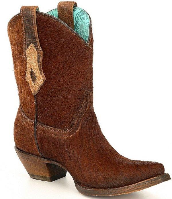 コーラルブーツ レディース ブーツ・レインブーツ シューズ Haircalf Conchos Western Ankle Boots Brown