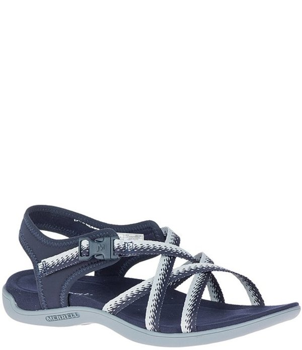 メレル レディース サンダル シューズ Women's District Muri Lattice Banded Sandals Navy GreybI7gYf6yv