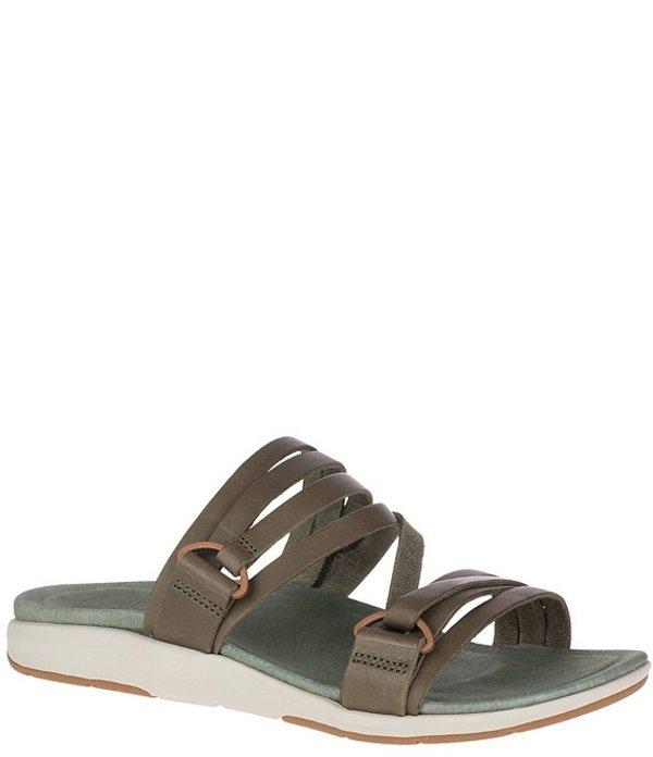 メレル レディース サンダル シューズ Kalari Shaw Banded Leather Slide Sandals Olive