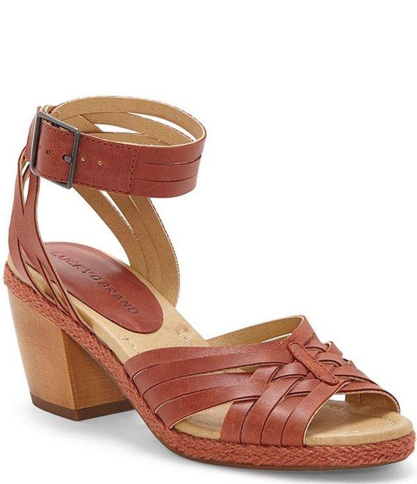 ラッキーブランド レディース ブーツ・レインブーツ シューズ Noxa Banded Leather Block Heel Sandals Sumac