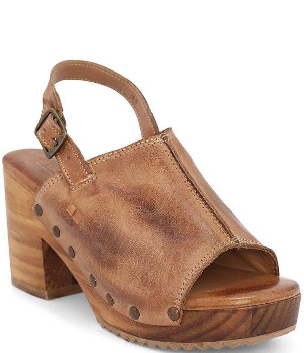 ベッドステュ レディース サンダル シューズ Marie Leather Block Heel Sling Back Platform Sandals Tan DD