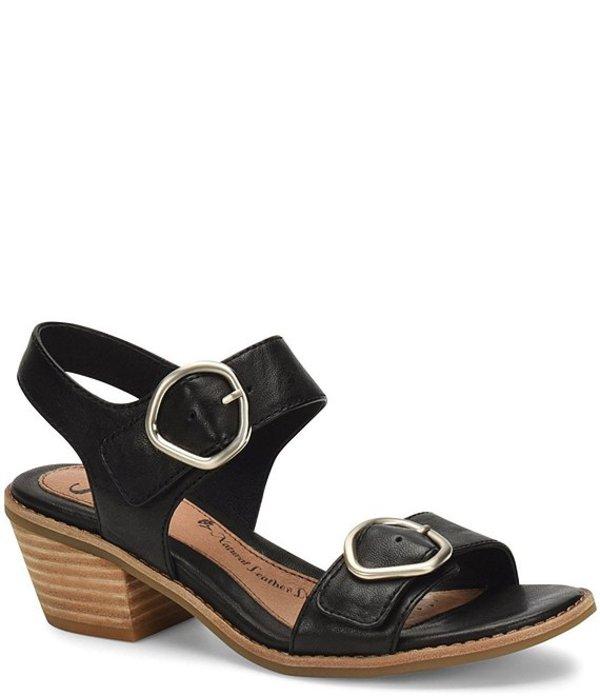 ソフト レディース サンダル シューズ Sedrina Leather Double Buckle Block Heel Sandals Black