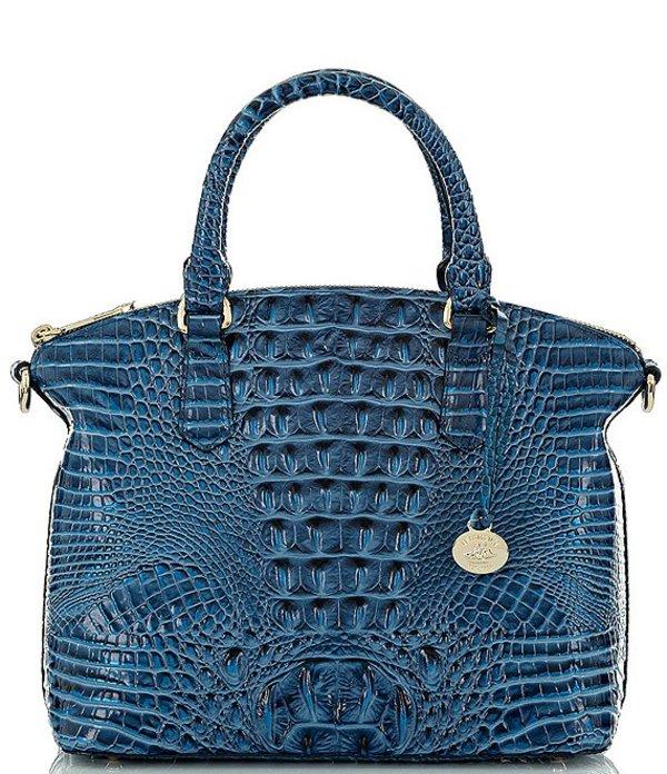 ブランミン レディース ハンドバッグ バッグ Melbourne Collection Duxbury Crocodile-Embossed Satchel Bag Bluebonnet