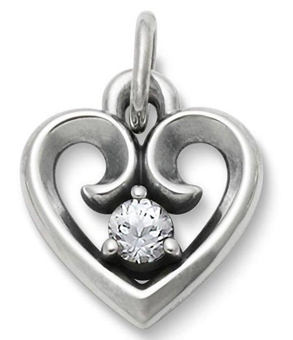 ジェームズ エイヴリー レディース ネックレス・チョーカー アクセサリー Avery Remembrance Heart Pendant April Birthstone with Lab-Created White Sapphire Silver/White