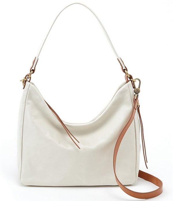 ホボ レディース ショルダーバッグ バッグ Delilah Shiny Leather Hobo Bag Latte