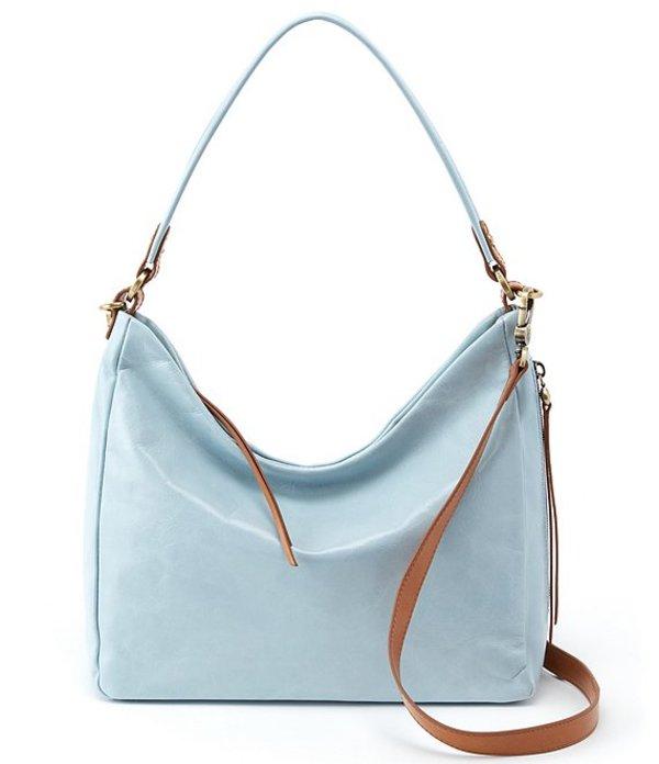 ホボ レディース ショルダーバッグ バッグ Delilah Shiny Leather Hobo Bag Whisper Blue