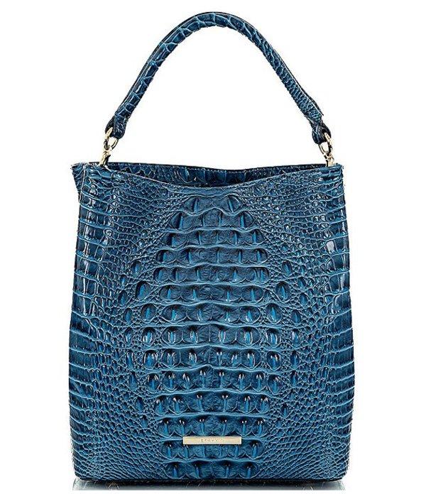 ブランミン レディース ショルダーバッグ バッグ Melbourne Collection Crocodile-Embossed Amelia Bucket Bag Bluebonnet