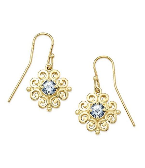 ジェームズ エイヴリー レディース ピアス・イヤリング アクセサリー 14K Gold Scrolled Ear Hooks with March Birthstone 14K Gold Aqua