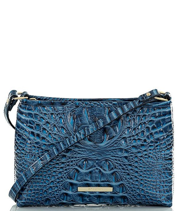 ブランミン レディース ショルダーバッグ バッグ Melbourne Collection Lorelei Crocodile-Embossed Shoulder Bag Bluebonnet