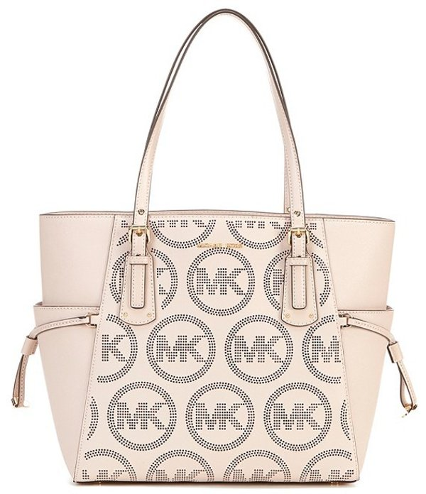 マイケルコース レディース ハンドバッグ バッグ MICHAEL Michael Kors Voyager East West Signature Leather Tote Bag Soft Pink