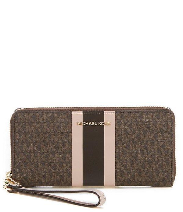 マイケルコース レディース ハンドバッグ バッグ MICHAEL Michael Kors Signature Jet Set Travel Continental Wallet Brown/Soft Pink