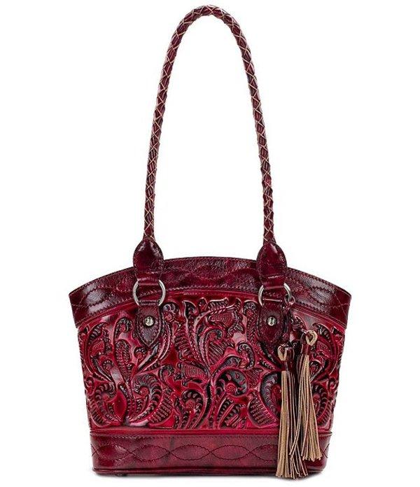 パトリシアナシュ レディース ハンドバッグ バッグ Burnished Tooled Collection Zorita Satchel Bag Berry Red
