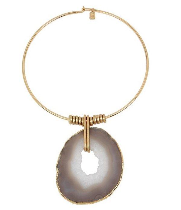 ロバート リー モーリス レディース ネックレス・チョーカー アクセサリー Agate Stone Pendant Round Wire Collar Necklace Brown