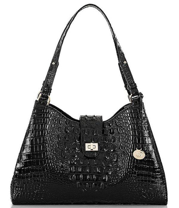 ブランミン レディース ショルダーバッグ バッグ Melbourne Collection Madelyn Crocodile-Embossed Shoulder Bag Black