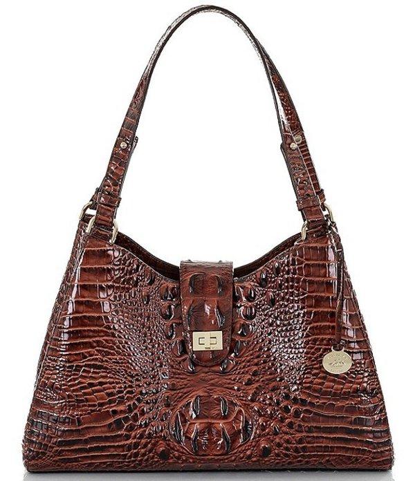 ブランミン レディース ショルダーバッグ バッグ Melbourne Collection Madelyn Crocodile-Embossed Shoulder Bag Pecan