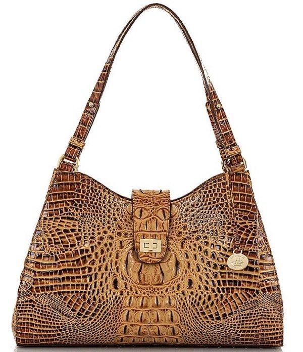 ブランミン レディース ショルダーバッグ バッグ Melbourne Collection Madelyn Crocodile-Embossed Shoulder Bag Toasted