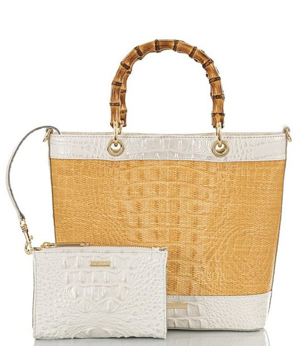 ブランミン レディース ハンドバッグ バッグ Bijou Collection Hayden Crocodile-Embossed Ring Handle Tote Bag and Pouch Daydream