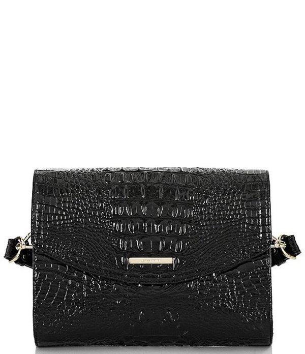 ブランミン レディース ショルダーバッグ バッグ Melbourne Collection Jacquelyn Crocodile-Embossed Shoulder Bag Black