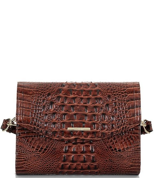ブランミン レディース ショルダーバッグ バッグ Melbourne Collection Jacquelyn Crocodile-Embossed Shoulder Bag Pecan