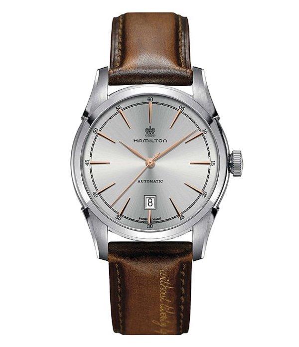 ハミルトン メンズ 腕時計 アクセサリー Spirit of Liberty Automatic Leather-Strap Watch Brown/Silver