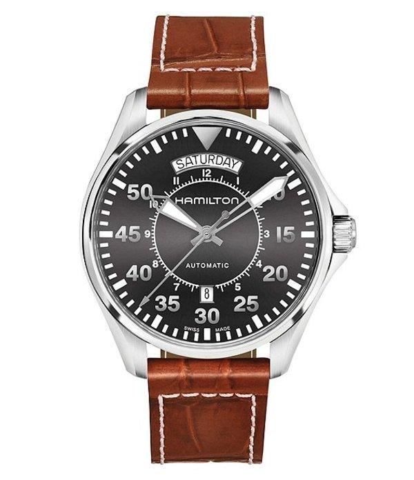 ハミルトン メンズ 腕時計 アクセサリー Pilot Automatic Day & Date Leather-Strap Watch Brown