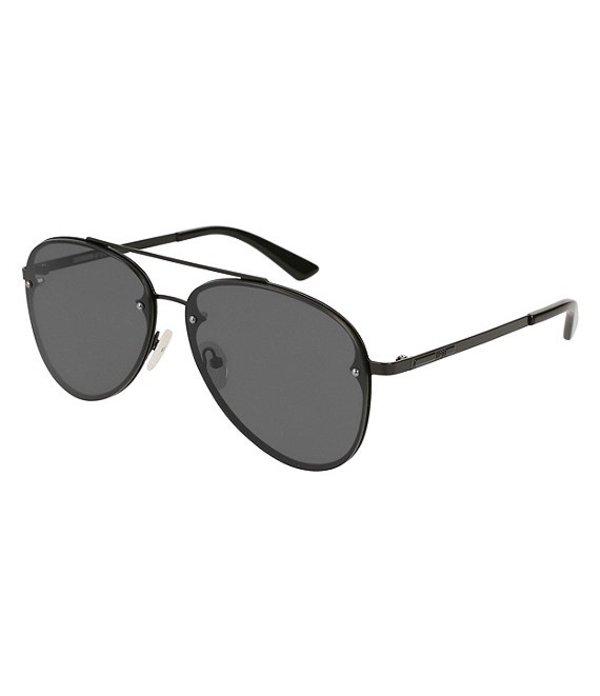 アレキサンダー・マックイーン メンズ サングラス・アイウェア アクセサリー McQ by Alexander McQueen Black Aviator Sunglasses Black Grey