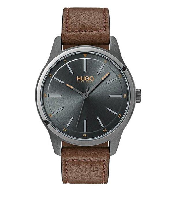 ヒューゴボス メンズ 腕時計 アクセサリー HUGO HUGO BOSS #Dare Brown Leather Strap Grey Dial Analog Watch Brown