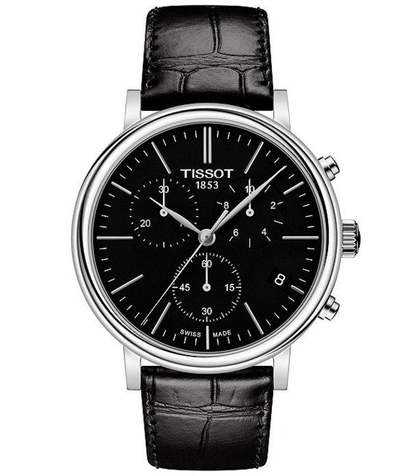 ティソット メンズ 腕時計 アクセサリー Men's Carson Black Leather Strap Watch Black