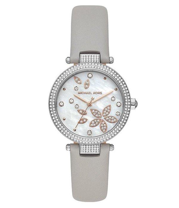 マイケルコース レディース 腕時計 アクセサリー Parker Floral Glitz Motif Three-Hand Gray Leather Watch Grey