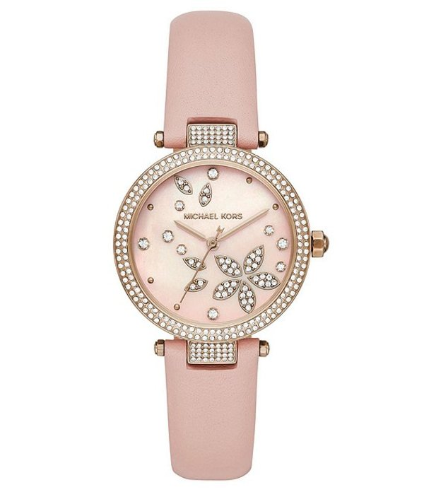 マイケルコース レディース 腕時計 アクセサリー Parker Floral Glitz Motif Three-Hand Blush Leather Watch Pink